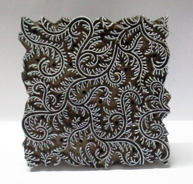 VINTAGE WOODEN HAND CARVED TEXTILE PRINTING ON FABRIC BLOCK STAMP HOT DEAL 123