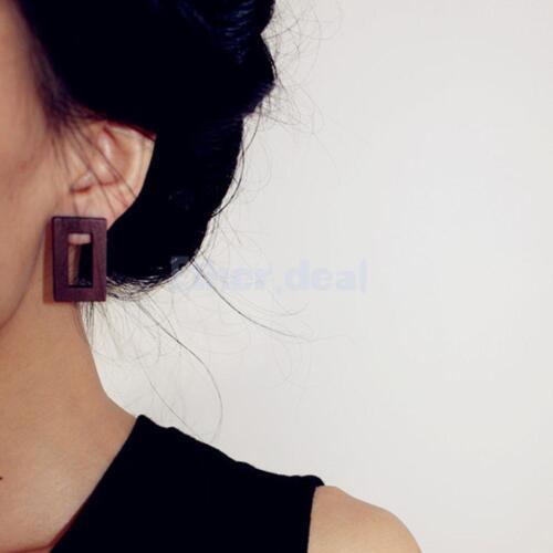 8 Stück Hölzerne Ohringe Runde Rechteck Ohrstecker für Damen Mode Schmuck