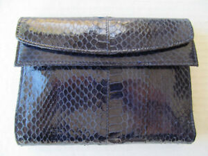 Womens-FRENCH-PURSE-WALLET-Navy-BLUE-Eelskin-Leather-NEW-with-TAGS