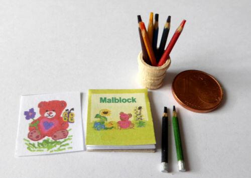 Malblock  8 Stifte Becher Zeichnen Blatt Puppenhaus Puppenstube Miniatur 1:12