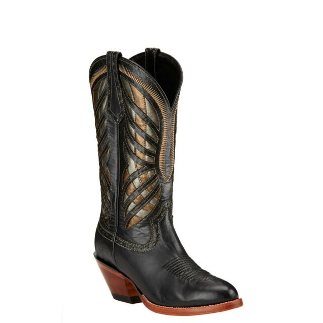 New Women's Ariat 10017399 Gentry Rustic Black Round Toe Cowgirl Western Boots