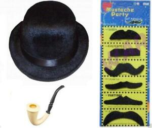 New-Detective-Sherlock-Smoking-Pipe-Cigar-Moustache-Monocle-Wig-Hat-Fancy-Dress