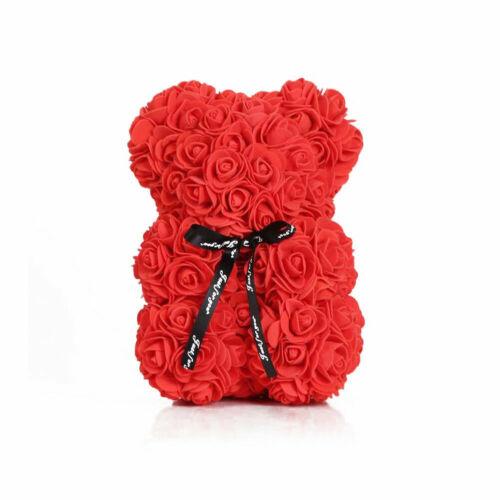 Weihnachtsgeschenk Rose Bear Flower Valentinstag Party Love Teddy 25cm Rot