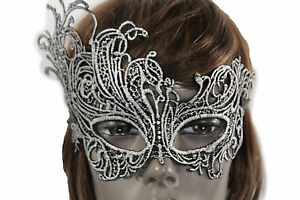 New-Women-Men-Half-Face-Eye-Costume-Mask-Black-Fabric-Flowers-Filigree-Halloween