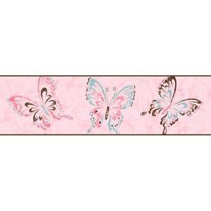 Wallpaper-Border-Brown-Aqua-Pink-Butterflies-on-Pink-with-Brown-Trim