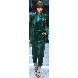 b1e4926f5f3 Image is loading Green-Velvet-Womens-Formal-Wear-Pantsuits-Female-Office-