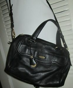 Image Is Loading Classic Tahari Black Matte Leather Gold Accents Satchel