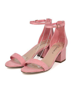 62a40bbe3ef6 Breckelles GG64 Women Pink Faux Suede Open Toe Chunky Heel Ankle ...