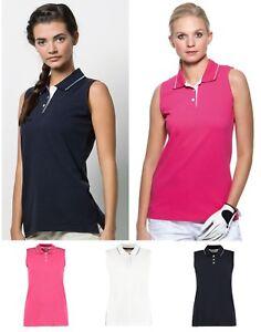 Ladies-Womens-Cotton-Sleeveless-Polo-Shirt-Golf-Tennis-Sport-Summer-Holidays