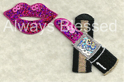 LIPSTICK & LIPS - COSMETICS IRON ON APPLIQUE PATCH - FUCHSIA SEQUIN/EMBROIDERED