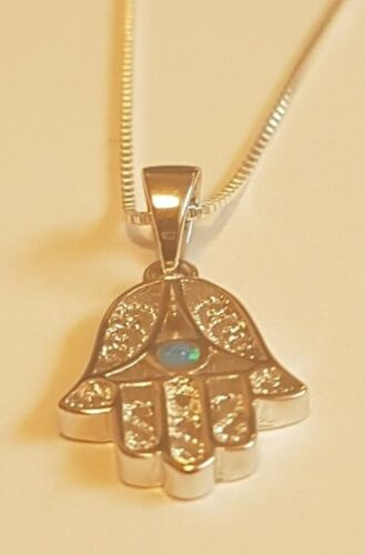 HAMSA WITH OPAL STONE NECKLACE PENDANT sterling silver Rosh Hashanah Gift