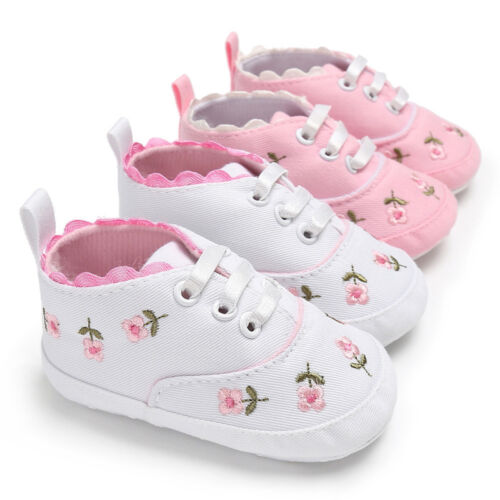Kid Infant Baby Girls Floral Crib Shoes Sole Anti-slip Sneakers Canvas S2