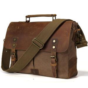 Leinwand-amp-Leder-Herren-14-039-039-Laptop-Aktentasche-Messenger-Schultertasche-Handtasche