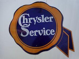 """CHRYSLER SERVICE PORCELAIN ORIGINAL 2 SIDED SIGN 27 3/4"""""""