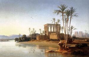 Nice-Oil-painting-johann-jakob-frey-the-ruins-at-philae-egypt-nice-landscape
