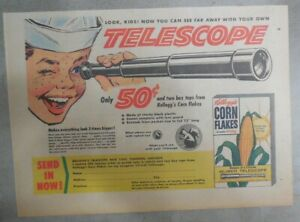 Kellogg's Cereal Ad: Real Telescope Premium ! From 1956 Size: 7 x 10 inches