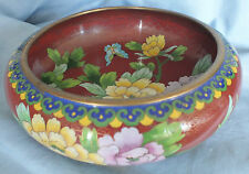 """Chinese Cloisonne Flowered Bowl  8"""" d."""