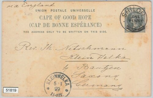51819 CAPE of GOOD HOPE POSTAL HISTORY STATIONERY CARD from SHILOH 1898
