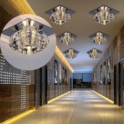 UK 3W Modern Crystal LED Ceiling Light Lighting Pendant Lamp Fixture Chandelier