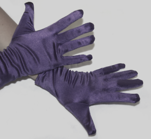 Joker Style Purple Gloves Short Smooth Satin Wrist Fancy Dress Halloween Costume