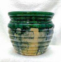 Vintage 1920's Nelson McCoy Pottery Ringed Jardiniere Planter Pot Majolica Blend