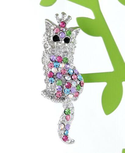 P117C Amazing Cat Scarf Pin Brooch Crystal Rhinestone Best Cute Animal Gift 5cm