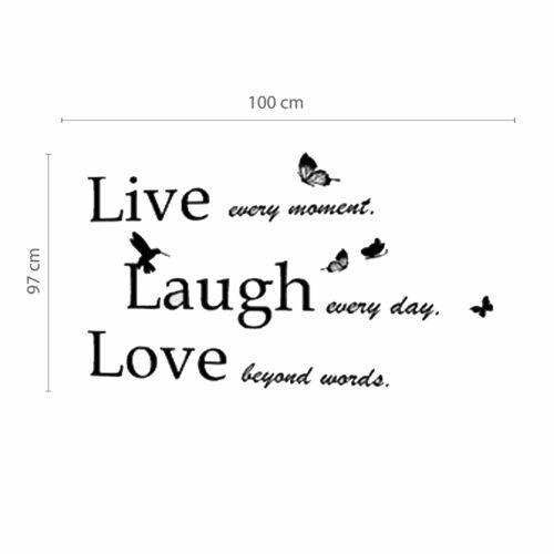 Walplus Huge Rose Arbre classique avec Live Laugh Love Citation Chambre Maison Décoration