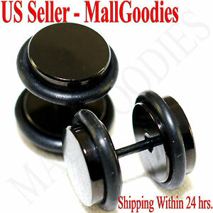 2088-Black-Fake-Cheaters-Illusion-Faux-Plugs-16G-Surgical-Steel-00G-10mm-Large