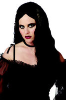 Dark Medieval Princess Black Wavy Long Goth Halloween Costume Wig
