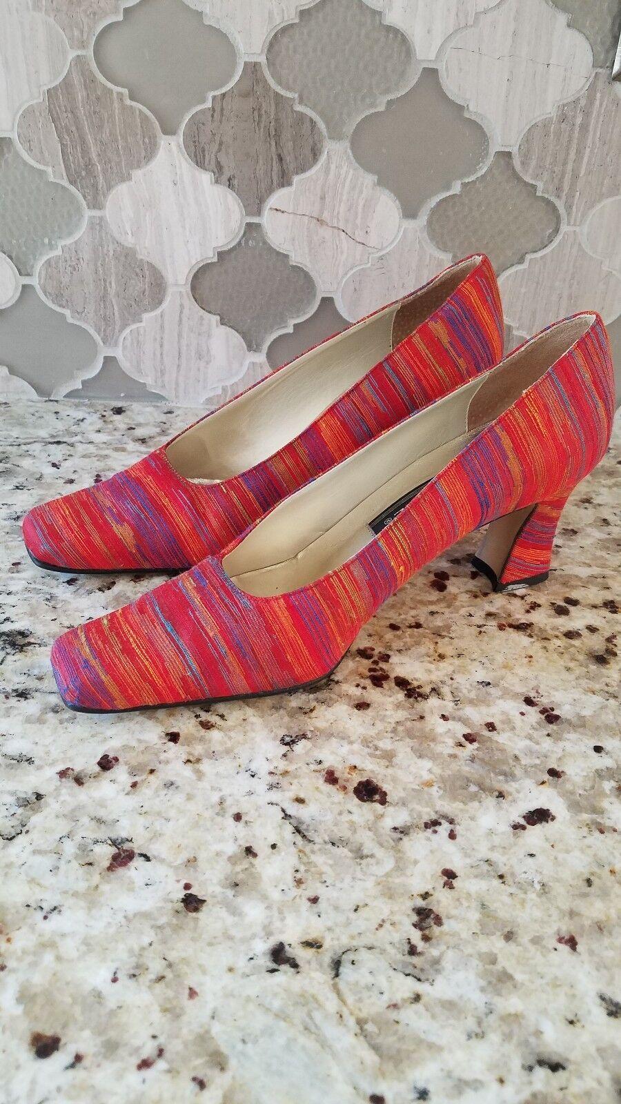 J. Renee' Fabric Multi color Stripe Block Heel Pump 6 womens