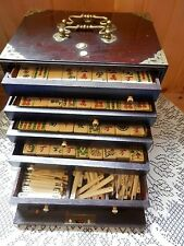 VINTAGE 1923 MAHJONG MAH JONGG CHINESE TILE GAME IN WOODEN CHEST 148 TILE & MORE