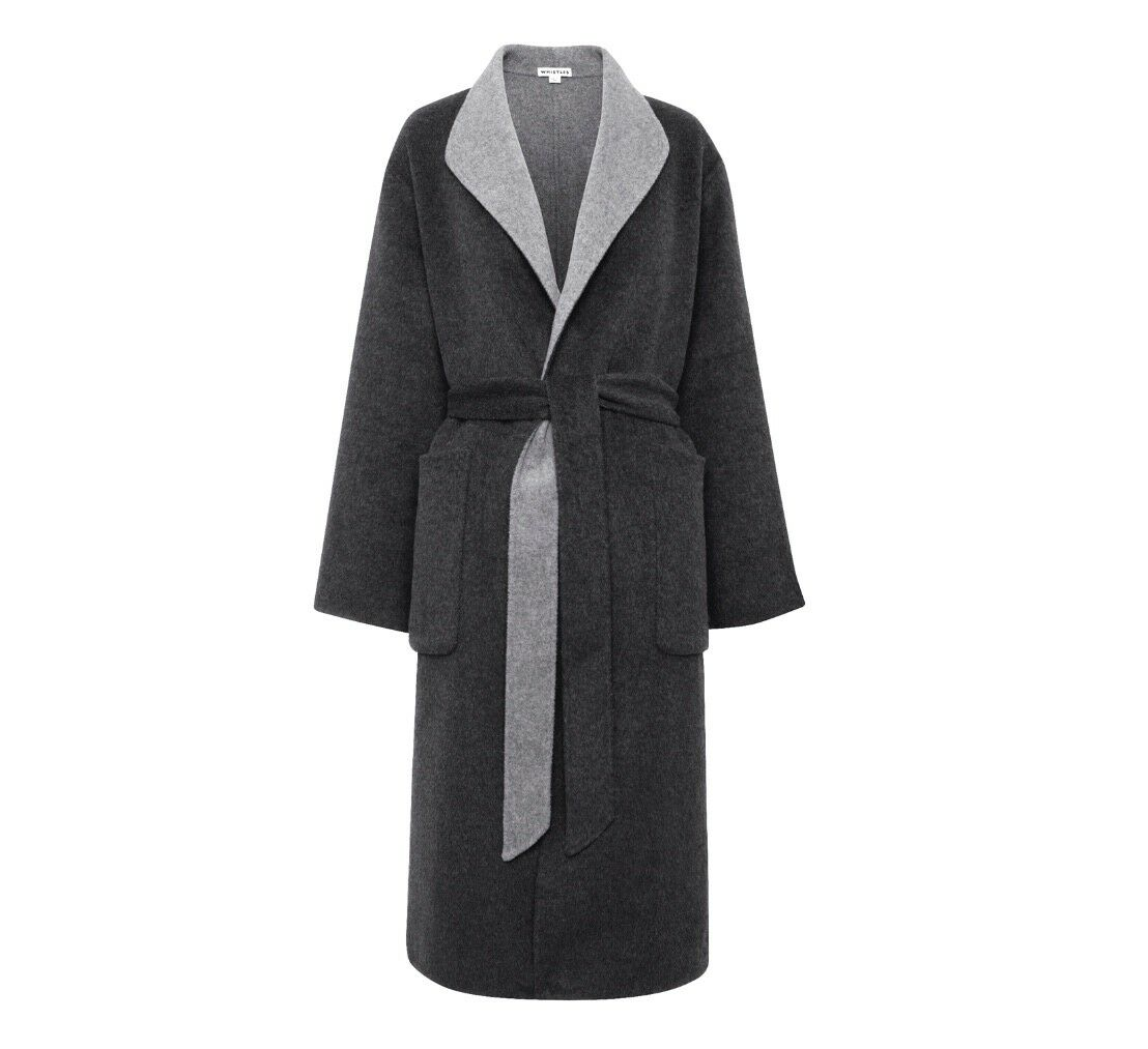 Whistles -  -- Reversible Wrap Coat - Grey - New with tag - Size M - 12 14