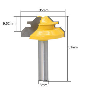 45Degree-1-2in-Stock-Router-Bit-Lock-Miter-Woodwork-Cutter-Tool-Yellow-Shank-66