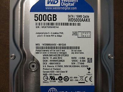 Western Digital 500GB SATA 3.5 Hard Drive WD5000AAKX-001CA0 DCM HHNNHTJCH