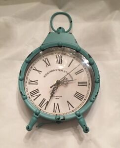 WESTMINSTER-STATION-TEAL-MANTEL-WALL-CLOCK