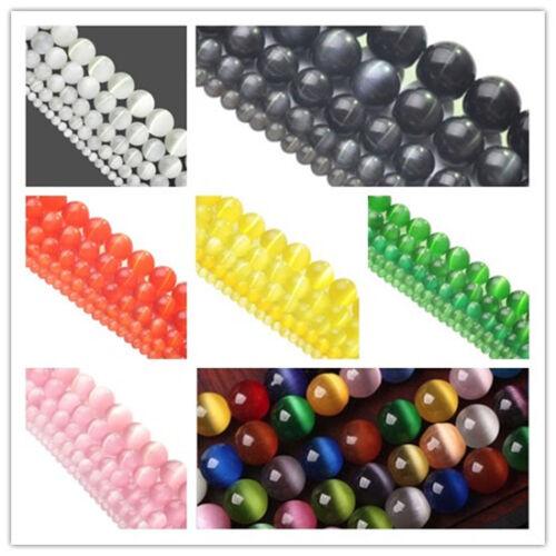 Cat Eye Round Stone Beads DIY Jewelry Making Gemstone 4mm 6mm 8mm 10mm 12mm