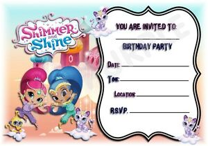 A5 Kids Childrens Party Invitations X 12 Shimmer And Shine Frame