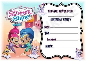 A5 KIDS CHILDRENS PARTY INVITATIONS X 12 - SHIMMER AND ...