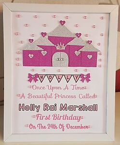 Image Is Loading Personalised Framed Girl Castle Handmade Baby First 1st
