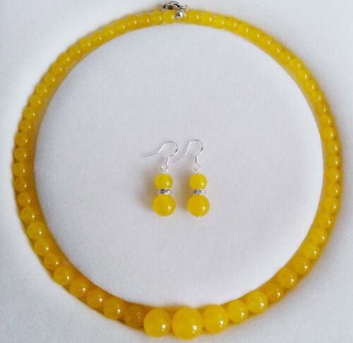 "Fashion 6-14mm Topaz Gemstones Round Necklace Earrings Set 18/"""