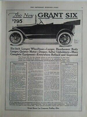 1915 Die Neue Grant Six Motor Car Company Findlay Ohio $795 Vintage Ad