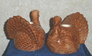 Thanksgiving-TURKEY-CANDLE-HOLDER-SET-of-2-fits-1-034-Taper-Candles-Autumn-Harvest