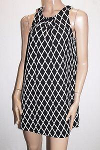VALLEYGIRL-Brand-Black-White-Diamond-Print-Shift-Dress-Size-M-BNWT-Si31