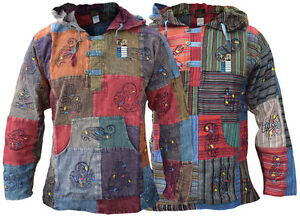 Sans Coton Délavé Col Népalaises Grand Hippie Naturel Capuche père Om shirt T qXdAfwcwS