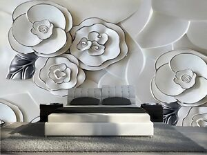 papier peint 3d trompe l oeil moderne photo murale 3d fleur nature 026 ebay. Black Bedroom Furniture Sets. Home Design Ideas