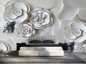 Papier Peint 3d Trompe L Oeil Moderne Photo Murale 3d Fleur Nature