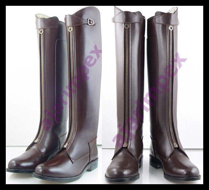 Polo uomini cavallo equitazione Leather lungo Zipper Ridding Real Leather stivali Ttutti stivali