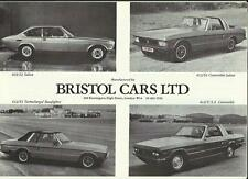 BRISTOL 603/S2, 412/S2,  412/S3 AND 412/USA CONVERTIBLE  SALES BROCHURE 1982
