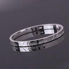 Women Girl Lady Gift SILVER Trendy Bracelet Bangle I LOVE YOU Engraved UK Seller