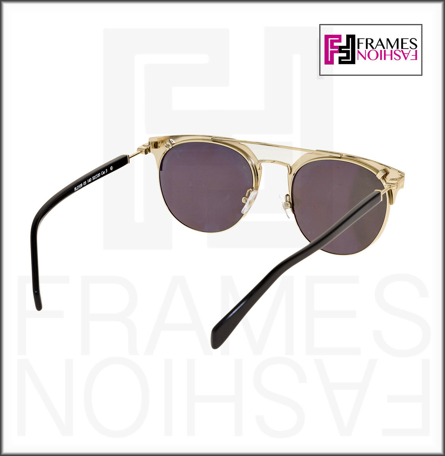 d8b1cd0d98 Balmain BL 2109 Black Gold Flash Mirror Clubmaster Metal Sunglasses Bl2109  for sale online